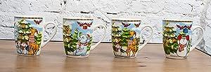 All For You X976 Christmas New Bone China Mug with Christmas Gift Prints Santa, snow man, bear -Set of 4, 12 Oz, Gift Box (4 Piece Assorted Color)