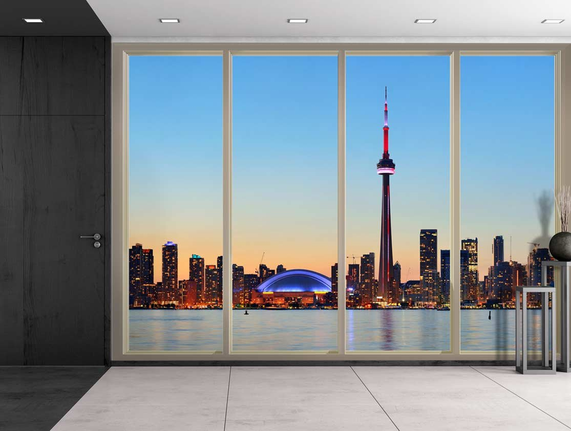 Large wall mural cityscape at night seen through sliding for City scape wall mural