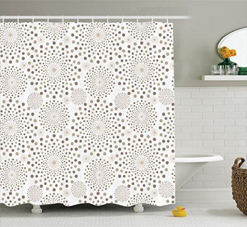 House Decor Shower Curtain Set By Ambesonne, Geometric Floral Patterns Dots Monochromic Classic Nostalgia Circles , Bathroom Accessories, 75 Inches Long Dot Pattern