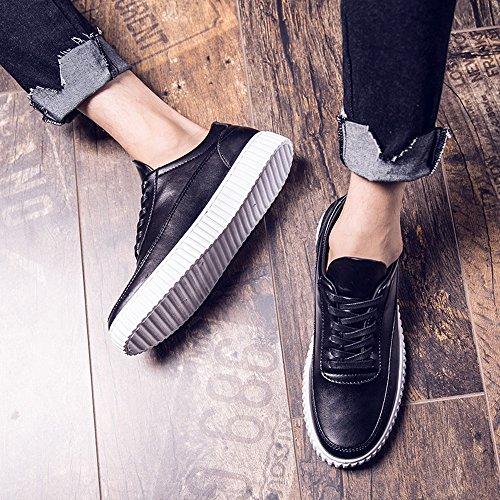 popular for sale Ruiyue Leather Sneakers,Casual Black&White Color Flat Sport Shoes Lace-up PU Leather Loafers Low Top Rubber Sole Sneakers for Men Black comfortable online 8lfPq