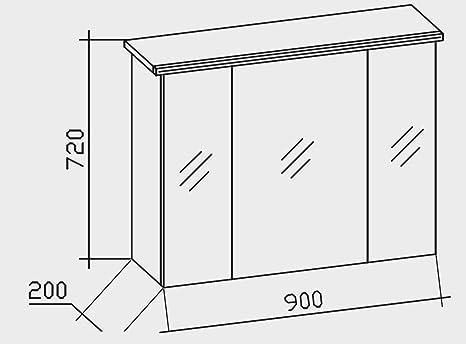 Pelipal Tren Tino 920 Armario con Espejo/Antracita/LED de perfil/90 X 72 X 20 CM/eficiencia energética: A + +: Amazon.es: Hogar