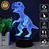 Dinosaur 3D Night Light Touch Table Desk Lamp, Terrosol 7 Colors 3D Optical Illusion Lights with Acrylic Flat & ABS Base & USB Charger for Christmas Kids Gifts