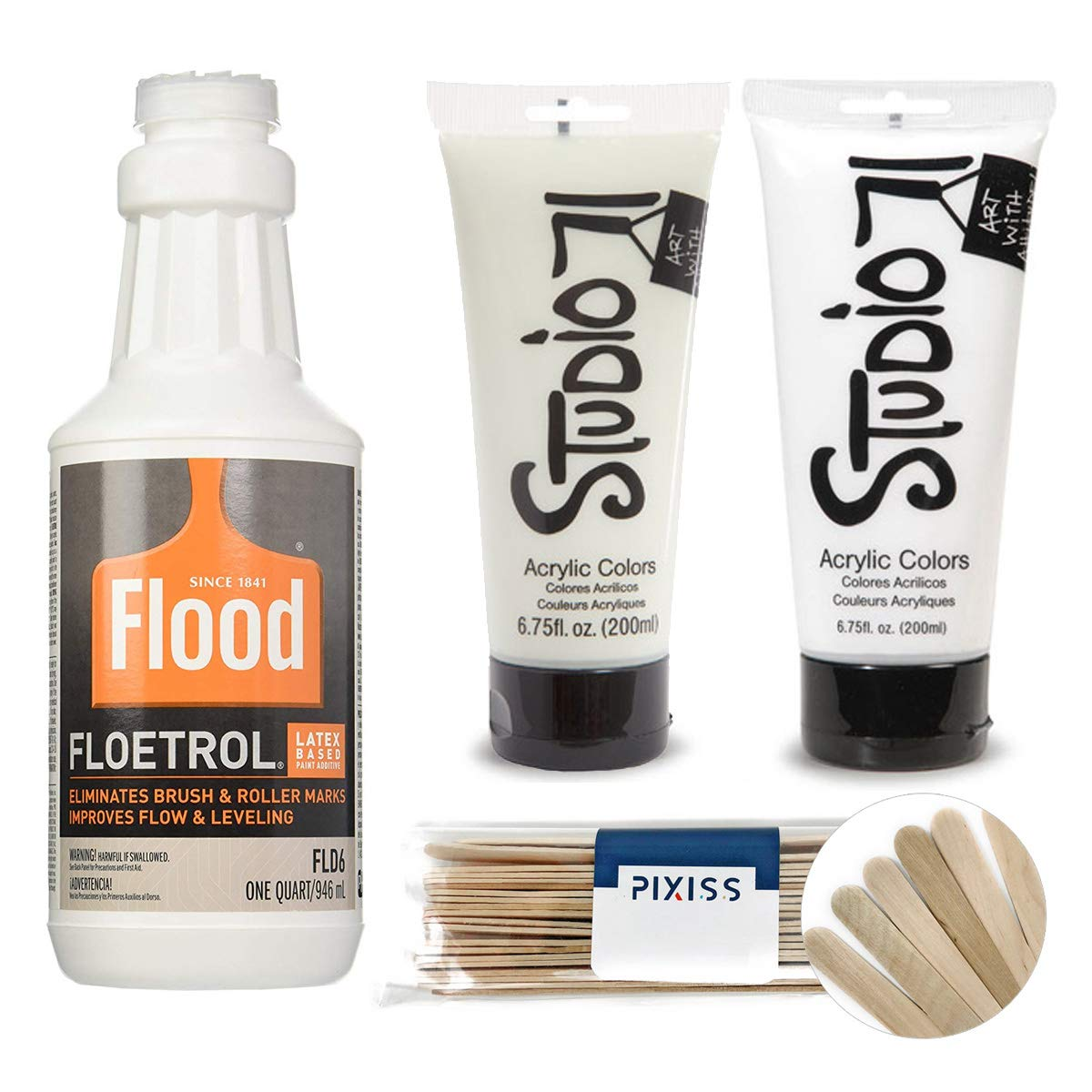 1 Quart Flood Floetrol Additive, 6-Ounce Studio 71 Glow in The Dark Acrylic Paint, 6-Ounce Studio 71 White Acrylic Paint, 20x 6-inch Pixiss Wood Mixing Sticks