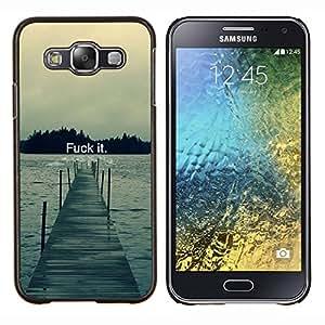 KLONGSHOP // Cubierta de piel con cierre a presión Shell trasero duro de goma Protección Caso - Fck It - Tipografía - Samsung Galaxy E5 E500 //