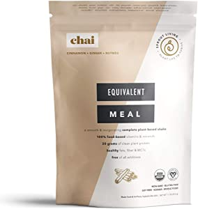 Sprout Living Equivalent Meal, Chai Flavor, Plant-Based Organic Meal Replacement, 20 Grams Plant Protein, No Additives, Gluten Free (520 Grams, 8 Servings)