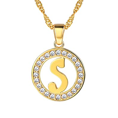 670feff96d Suplight Initial Letter S Necklace Pendant 18K Gold Plated CZ Letter Charm  for Women Girls