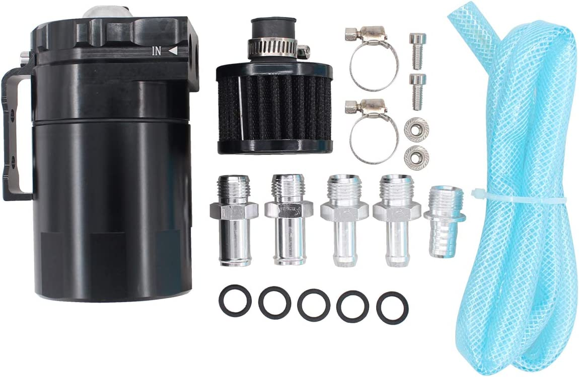 XtremeAmazing Black Oil Catch Can Tank 300ml with Breather Filter Dual Cylinder Polish Baffled Engine Air Oil Separator Tank Reservoir Kit Universal Aluminum