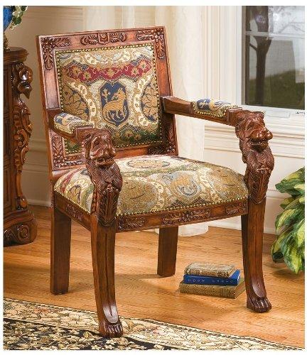 Design Toscano Beardsley Heraldic Lion Fabric Arm Chair