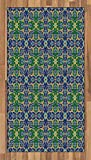 Arabian Area Rug by Ambesonne, Ornate Arabic Ethnic Mosaic Oriental Eastern Patterns with Damask Tribal Art, Flat Woven Accent Rug for Living Room Bedroom Dining Room, 2.6 x 5 FT, Yellow Green Teal