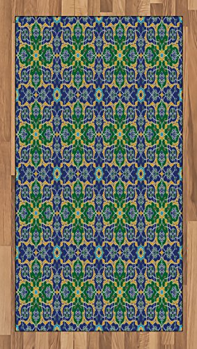Arabian Area Rug by Ambesonne, Ornate Arabic Ethnic Mosaic Oriental Eastern Patterns with Damask Tribal Art, Flat Woven Accent Rug for Living Room Bedroom Dining Room, 2.6 x 5 FT, Yellow Green Teal by Ambesonne