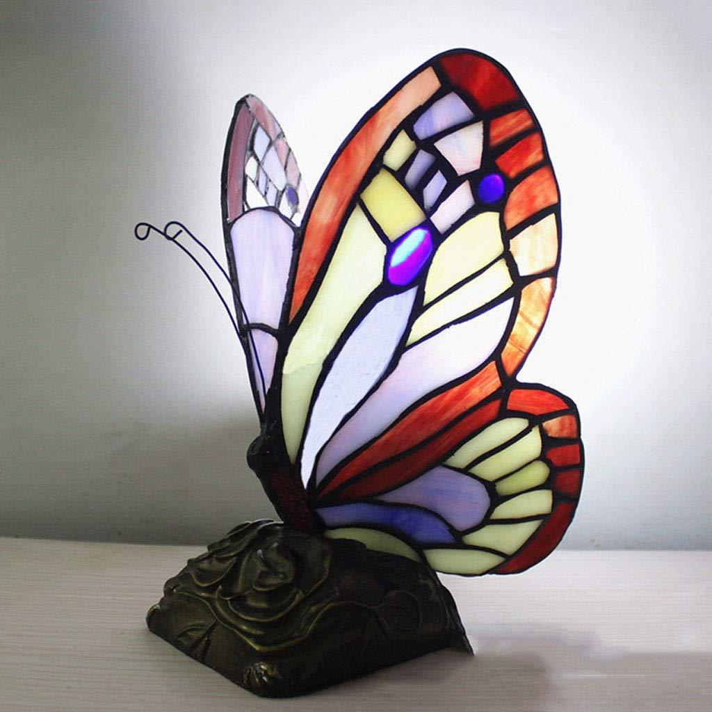 RXY-LAMP European Mediterranean Style Glass Butterfly Light Energy Saving Eye Decoration Lighting Desktop Night Light