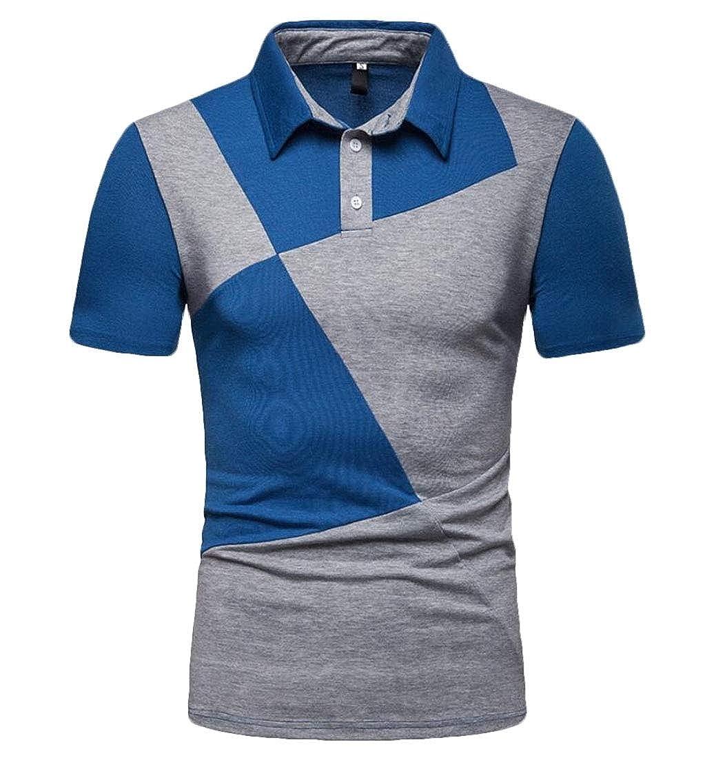 YIhujiuben Mens Leisure Lapel Color Block Slim Short Sleeve Polo Shirt