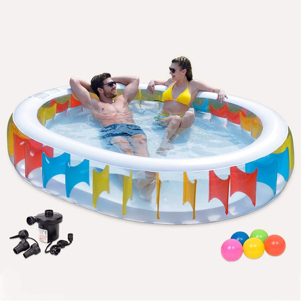 CHANG XU DONG SHOP Großes aufblasbares Schwimmbad-Wasserspiel-Center-Planschbecken Faltbares Familien-Duschbecken für Kinder, Erwachsene, Familien, Hinterhof, Outdoor