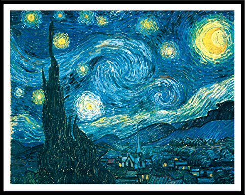 - Culturenik Vincent Van Gogh Starry Night Decorative Fine Art Postcard Poster Print, Framed 11x14