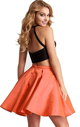 2018 Prom Dresses Sexy Off-Shoulder Tow-Piece Homecoming Gowns Lace Orange US10 Size