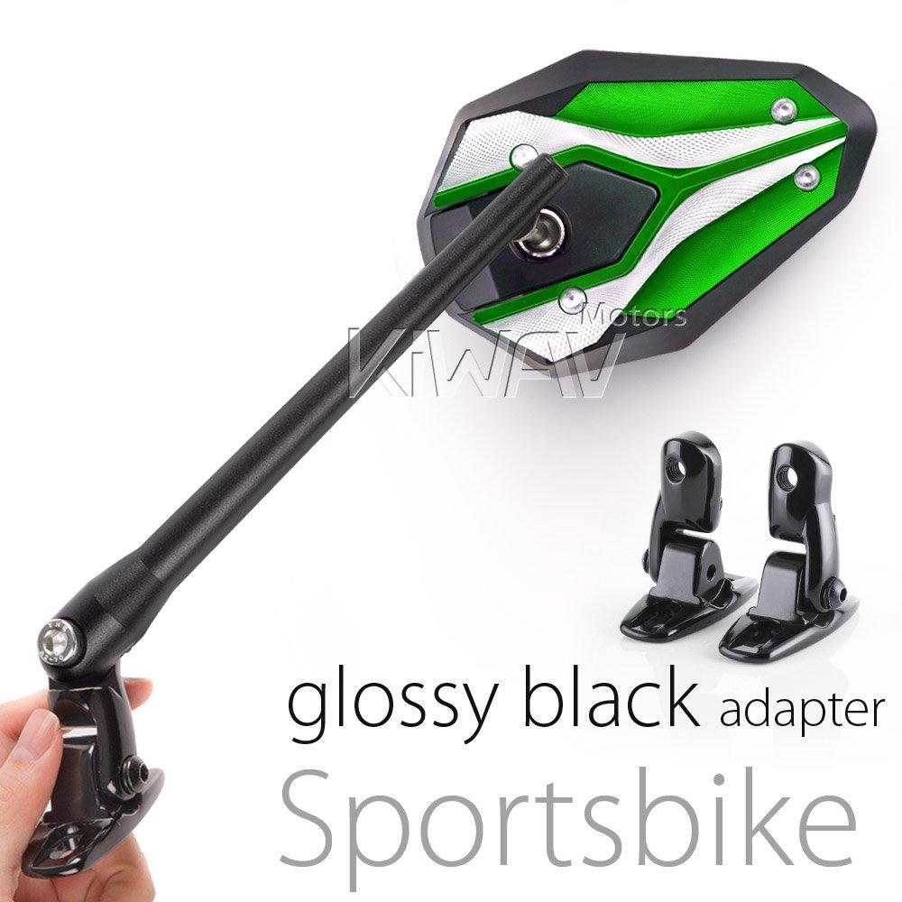 KiWAV Magazi Viper II motorcycle mirrors green fairing mount w/ glossy black adapter for sports bike adjustable e