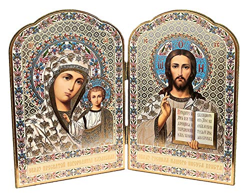 Gold Foil Christ The Teacher and Virgin of Kazan Russian Orthodox Icon Diptych 8 Inch