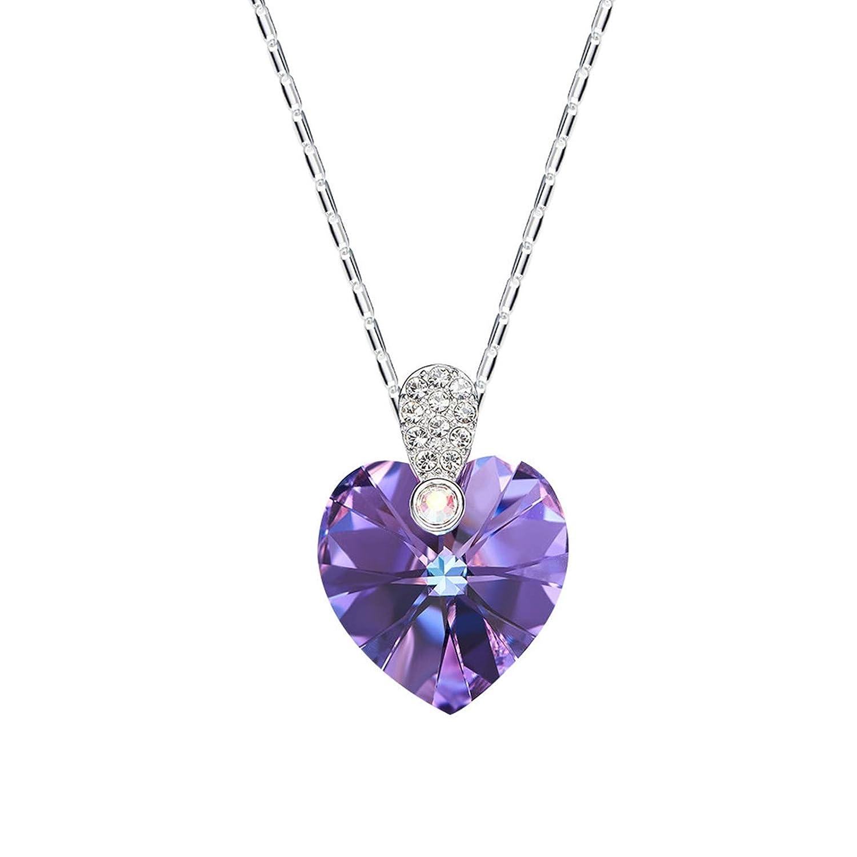 EoCot Heart Shape Necklace Australian Crystal Pendant Necklaces for Women