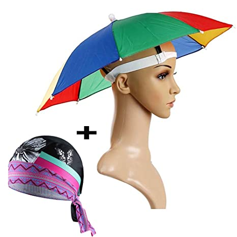 faa5a0a0c63 Image Unavailable. Image not available for. Color  Ezyoutdoor 20.8    Rainbow Umbrella Hat Foldable Waterproof Hands Free Umbrella Rain Hat for  Golf
