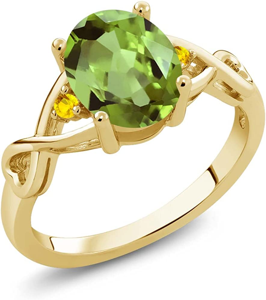 Gem Stone King 1.87 Ct Oval Green Peridot Yellow Sapphire 18K Rose Gold Plated Silver Ring