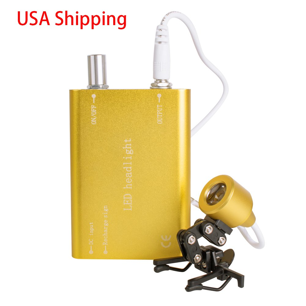 Finlon Portable Yellow Head Light Lamp for Dental Surgical Medical Binocular Loupe(Shipping from US)