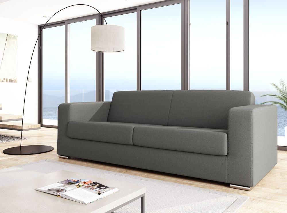 usinestreet sofá diseño 3 plazas tejido gris claro Sober ...