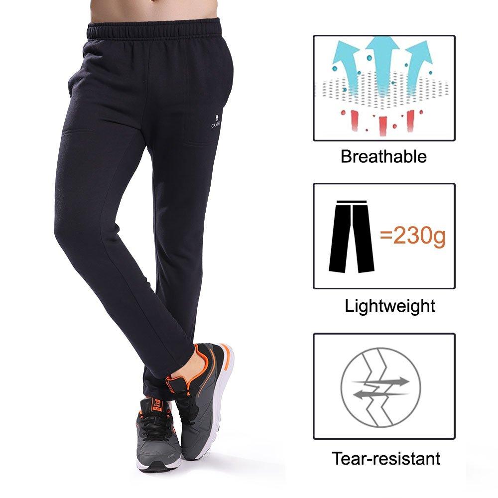 Camel Men\'s Open Bottom Sweatpants Jogging Pants With Pockets Lightweight Drawstring Running Pants Slim Fit For 4 Season(Black), Large