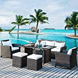 Merax 6-Piece Patio Furniture Dining Set Outdoor Living Wicker Sofa Set (Beige Cushion)