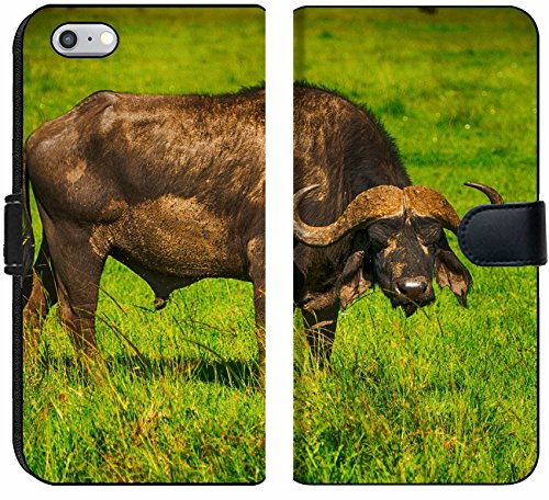Apple iPhone 6 and iPhone 6s Flip Fabric Wallet Case Male Cape Buffalos Standing in Short Grass Image 34700099 Customized Tablemats Stain Re ()