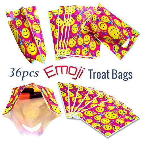Emoji Goodie Bags for Party Favors at Children Birthday Parties, 36 Pack, 9.5 x 6.5inches Treat Bags - Treat Bags Goodie Bags