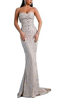 e29e0e15c0c LinlinQ Women s Sexy Off Shoulder Bustier Glitter Floor-Length Prom Gown  Dress