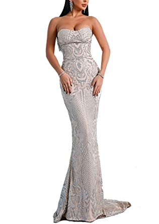 LinlinQ Womens Sexy Off Shoulder Bustier Glitter Floor-Length Prom Gown Dress (XSmall,