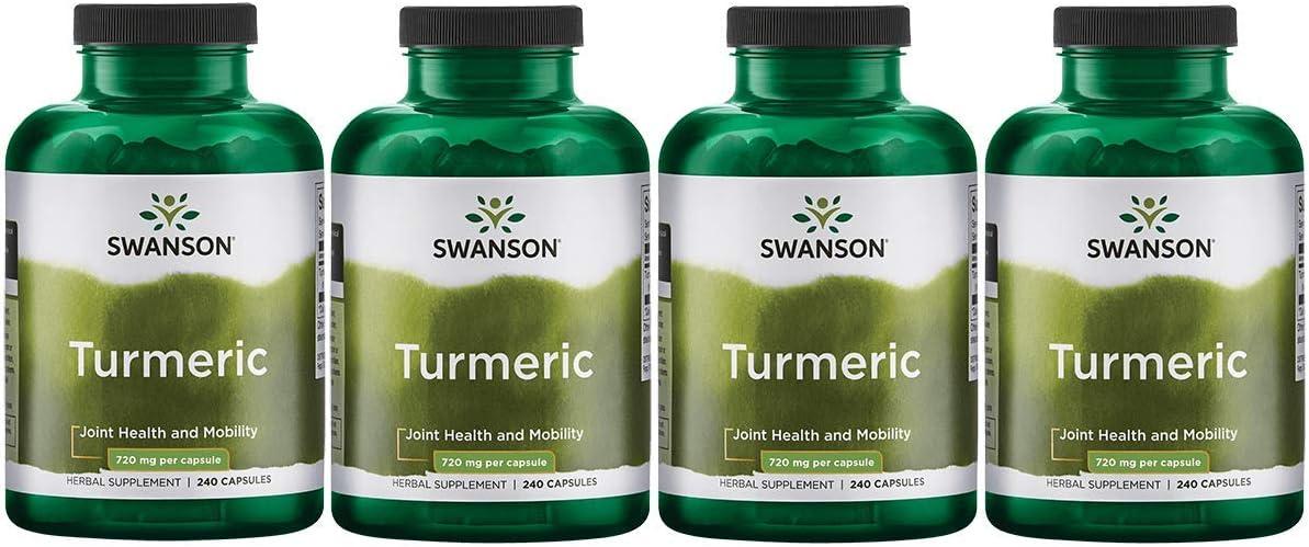 Swanson Turmeric Curcumin Antioxidant Joint Health Cardiovascular Liver Detox Mood Memory Support Supplement Curcuma Longa 720 mg per Cap 1.44 Grams per 2 Cap Serving Size 240 Capsules 4 Pack