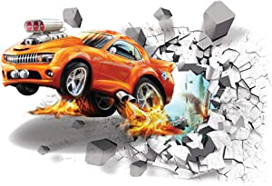 Supzone 3D Car Wall Decals Broken Wall Sticker Self-Adhesive Leap Car Wall Decor Vinyl Removable Automobile Wall Art for Kids Sport Car Wall Stickers for Bedroom Playroom Wall Mural