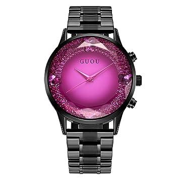 Reloj de las Mujeres 5 Tipos Reloj Analógico de Cuarzo Femenino Reloj de Pulsera Redondo de Dial Grande con Correa de Aleación(púrpura): Amazon.es: Belleza
