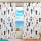 Cheap INGBAGS Bedroom Decor Living Room Decorations Feather Pattern Pattern Print Tulle Polyester Door Window Gauze / Sheer Curtain Drape Two Panels Set 55×78 inch ,Set of 2
