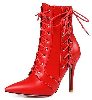 Aisun Damen Sexy Spitz Zehen Stiletto Stiefelette Schnürsenkel Kurzschaft Stiefel Rot 35 EU 5XZhMqp