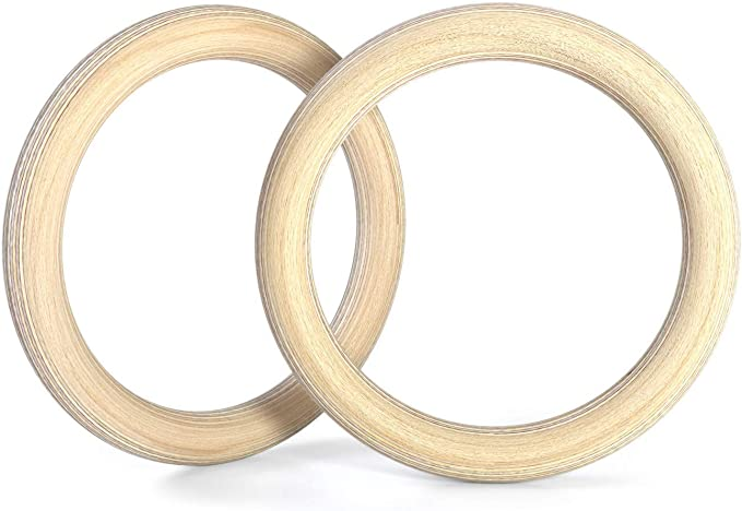 2X Wooden Gymnastic Rings Fitness Bodyweight Training Strength Home Gym Workout