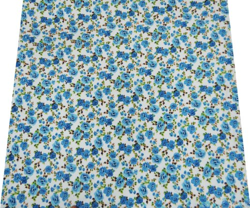 Blue Cotton Voile Fabric Floral Pattern 42