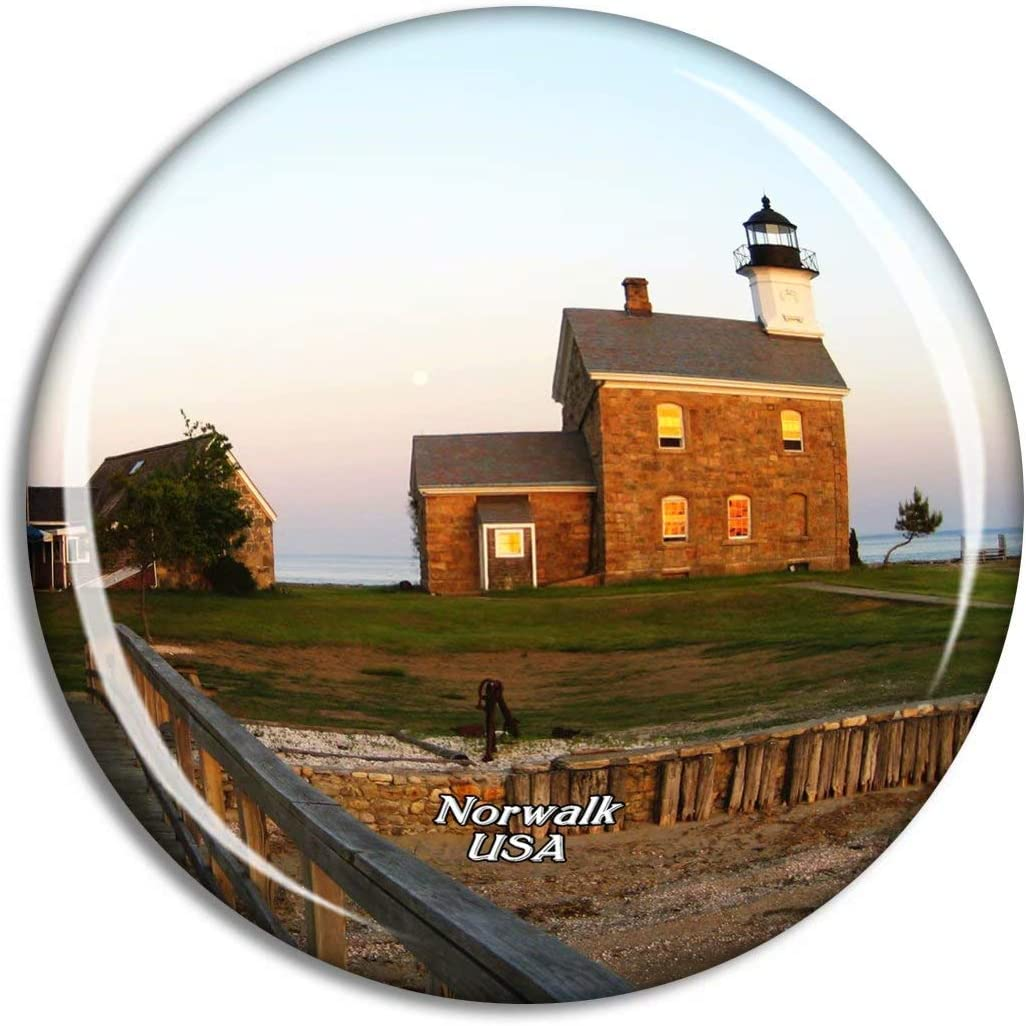 Weekino USA America Norwalk Sheffield Island Lighthouse Fridge Magnet Travel Souvenir City Collection 3D Crystal Glass Gift Strong Refrigerator Sticker