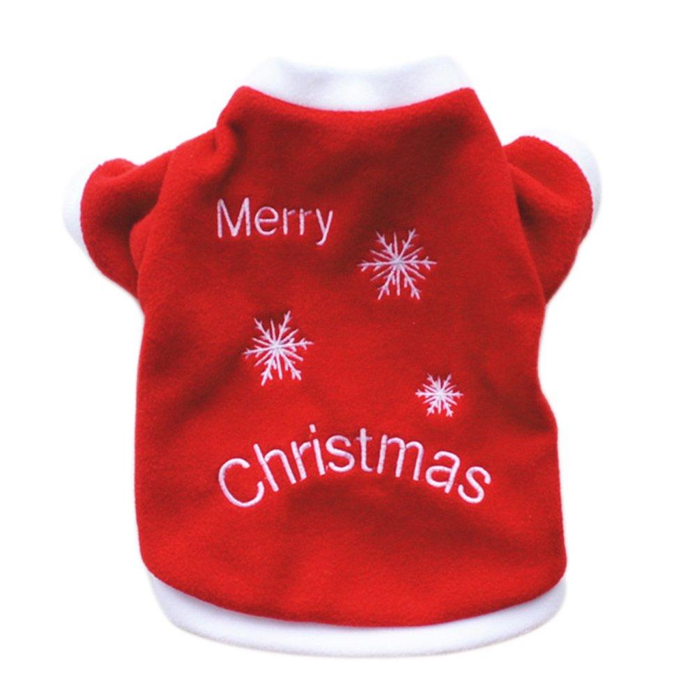 Beetest-Costumes de Noël pour chien Dog, Hiver Automne Chaud Merry Christmas Blanc Flocon vêtements pour chien, Chien vêtements de Neige Motif Animaux Costume Chien Chat Santa Xmas Party Décorations (Taille M)