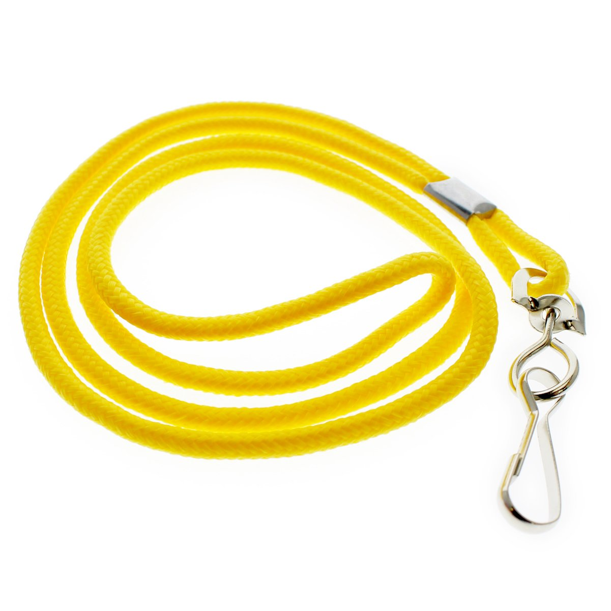 25 Pack - Premium Round ID Badge Neck Lanyards for Card Holders and Name Tags - 36 in Non-Breakaway Heavy Duty Cord & Secure Metal Swivel J Hook Clip by Specialist ID (Yellow)