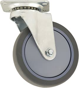 Waxman Casters TPR Rubber Caster Wheel – Gray 5-Inch Swiveling Top Plate – Non-Marking, Safe on Surfaces – For Multi-Purpose Use
