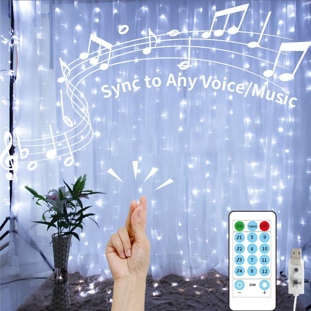 White Curtain Lights String,9.8Ftx9.8Ft 300 LED Hanging Fairy Lights with Remote for Bedroom Wall Decor,Sync Music Setting & 8 Modes with Auto On/Off Timer