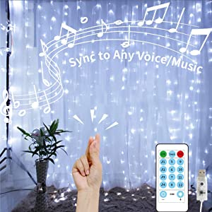 GHodec Curtain Lights String with Voice Activated,USB Powered 300 LED White Hanging Lights for Christmas Bedroom Decorative,4 Music Settings Can Sync to Any Sound (9.8Ftx9.8Ft)