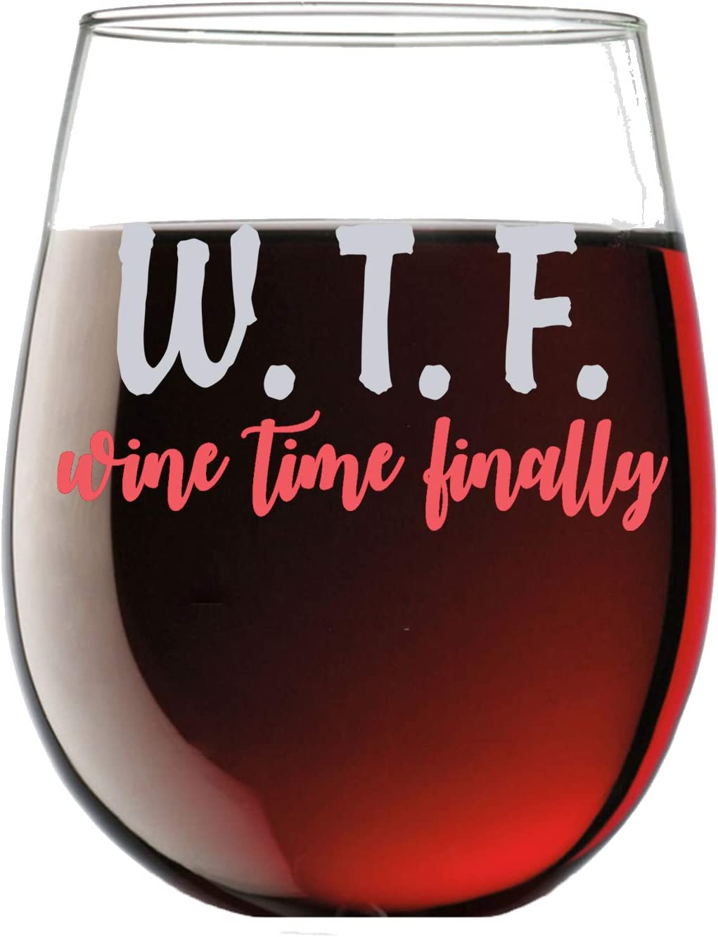 W.t.f. Wine Time Finally Funny 15oz Stemless Crystal Wine Glass - Fun Wine Glasses with Sayings Gifts for Women