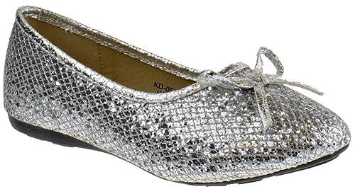 966c7a01c64 KD 05 KM Little Girls Glitter Ballet Ballerina Flats Silver Glitter 2