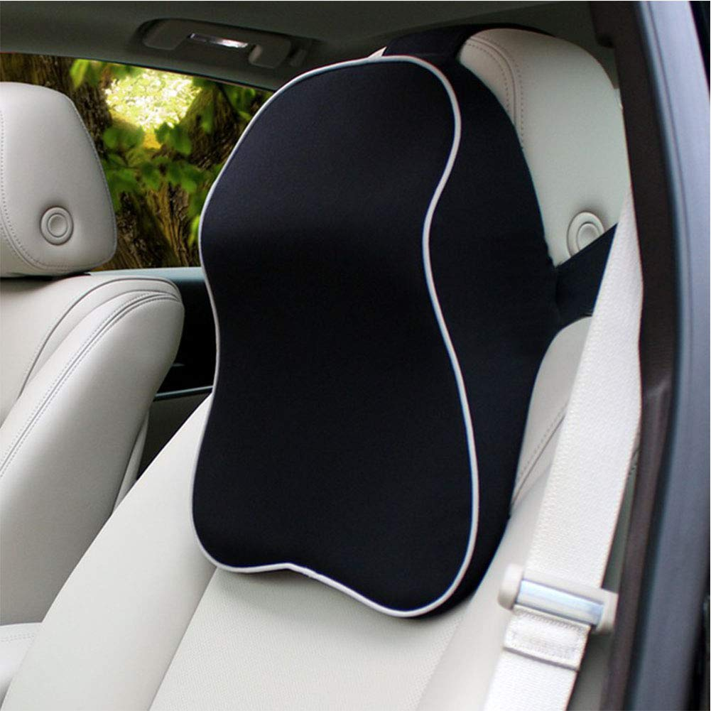 SXJ Car Headrest, Memory Foam Car Neck Pillow,Travel Auto Head Neck,Rest Cushion,with Ergonomically, for Adjust Sitting Position Relief Pain, of in Travel/Office/Home/Car,Black by SXJ