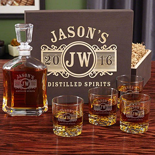 Marquee Personalized Decanter Set with Wood Gift Box (Customizable (Decanter Box)