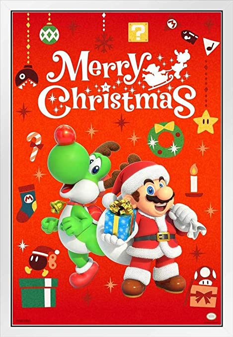 Pyramid America Merry Christmas Mario And Yoshi Nintendo Decoration White Wood Framed Poster 14x20 Posters Prints